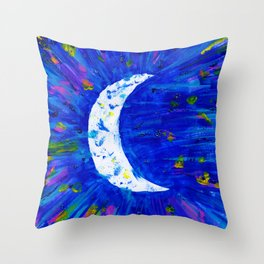 Glitter Crescent Moon Phase Throw Pillow