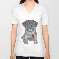rottweiler V-neck T-shirts featuring Courageous Heart- Rottweiler by DiAnne Ferrer