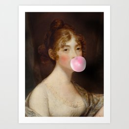 Naughty girl with a bubble gum Art Print
