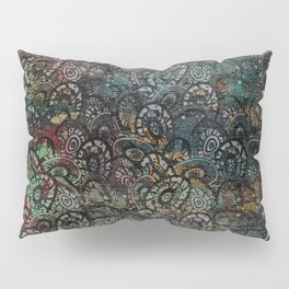 Burned Color  Paisley Pattern on  Wood Pillow Sham