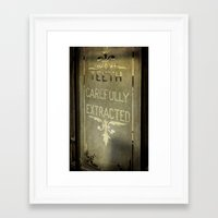 dentist Framed Art Prints featuring Victorian Dentist Sign by Adrian Evans