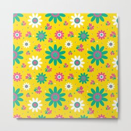Retro Fall 60's Sunflower Floral in Yellow Metal Print