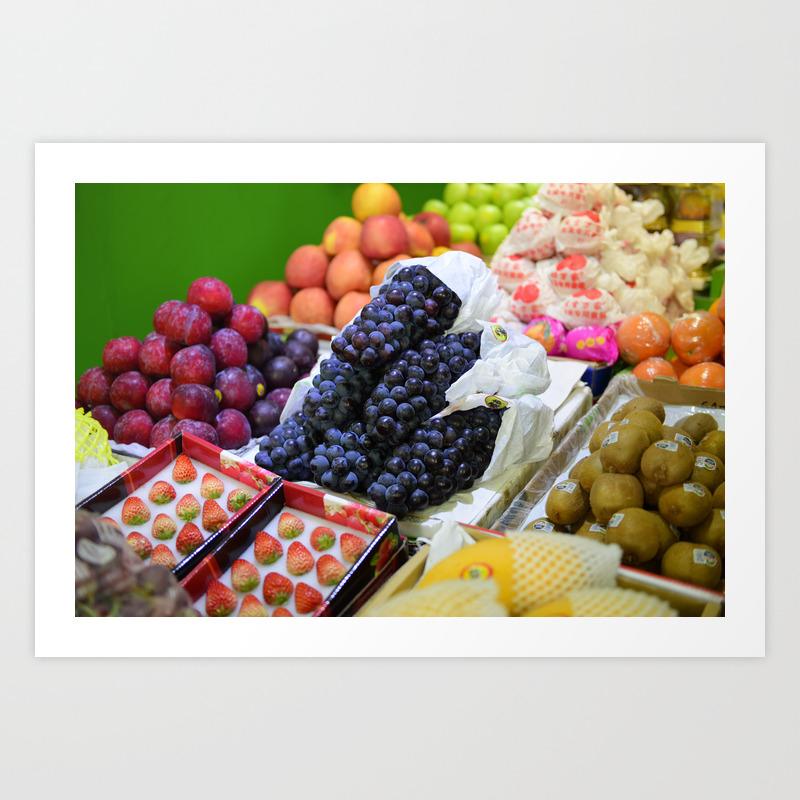 Market Display of Fruit - Kitchen or Cafe Decor Art Print