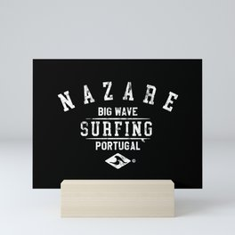 NAZARE BIG WAVE SURFING DISTRSSED LOOK BY SUBGRL Mini Art Print