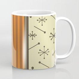Mid Century Stripes & Starbursts (Orange) Coffee Mug