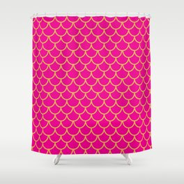 Mermaid Scales Pattern in Pink. Gold Scallops. Pink Shower Curtain