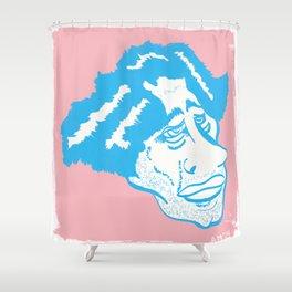 Scruff in Blue Shower Curtain