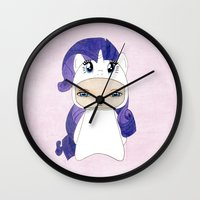 mlp Wall Clocks featuring A Boy - Rarity by Christophe Chiozzi