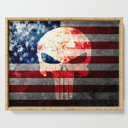 Skull and American Flag on Distressed Metal Serving Tray