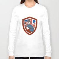british flag Long Sleeve T-shirts featuring British Bobby Policeman Truncheon Flag Shield Retro by patrimonio