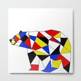 Mondrian Bear Metal Print