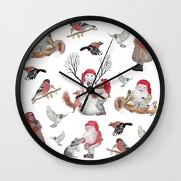 Gnome pattern - Christmas Wall Clock