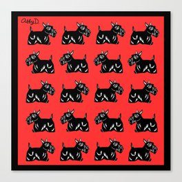 Scottie Dogs Black and Red Pattern Canvas Print