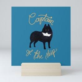 Captain Schipperke (Blue and Beige) Mini Art Print