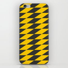 Slanted Checkers Black & Yellow iPhone Skin