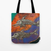 dolphins Tote Bags featuring Dolphins by Sherdeb Akadan
