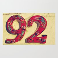 number Area & Throw Rugs featuring door number by gzm_guvenc