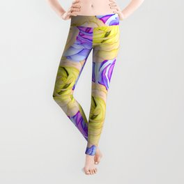 blooming rose texture pattern abstract background in yellow and pink Leggings