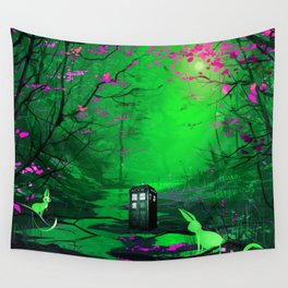 Tardis Stay Lost In The Forest Wall Tapestry