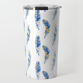 Watercolour Feathers - Navy and Gold Travel Mug