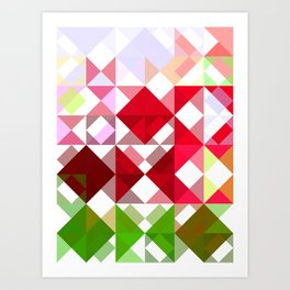 Red Rose Edges Abstract Triangles 1 Art Print