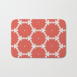 Red Stars of Christmas Pattern Geometric Abstract Bath Mat
