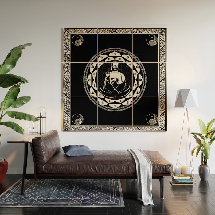 Buddha Black & White Yin & Yang Flower Of Life Wood Wall Art by ...