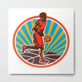 Basketball Player Dribbling Ball Woodcut Retro Metal Print