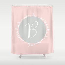 Garland Initial B - Grey Shower Curtain