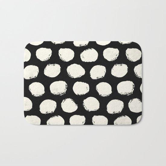 Trendy Cream Polka Dots on Black Bath Mat