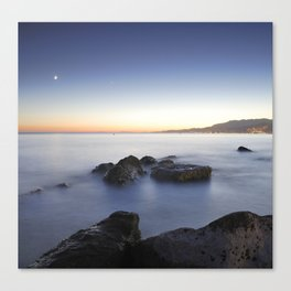 Venus and the moon over the sea  Canvas Print