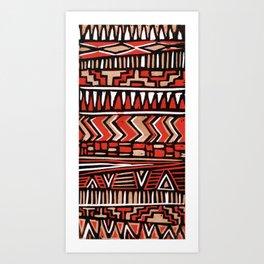 Aztec lino print Art Print