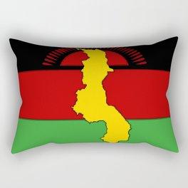 Malawi Map on a Malawian Flag Rectangular Pillow