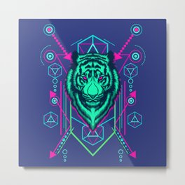 Cool Sacred Geometry Glowing Tiger Radioactive Stripes Illustration Metal Print