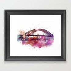 Sydney Harbor Bridge Watercolor Art Framed Art Print