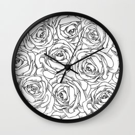 White & Black Roses Wall Clock