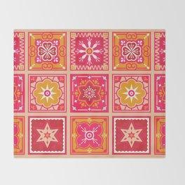 Talavera Mexican Tile – Hot Pink & Orange Palette Throw Blanket