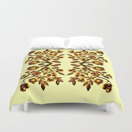 Yellow Brown Flower Leaf Pattern Vector Duvet Cover
