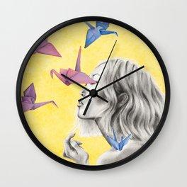 Watercolor Cranes Wall Clock