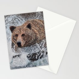 Grizzly Bear Running in the Water Stationery Cards