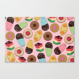 Assorted Cookies on Pink Background Canvas Print