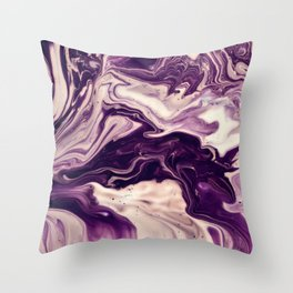 Purple and Cream Marble Throw Pillow