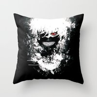 tokyo ghoul Throw Pillows featuring Kaneki Tokyo Ghoul by Prince Of Darkness