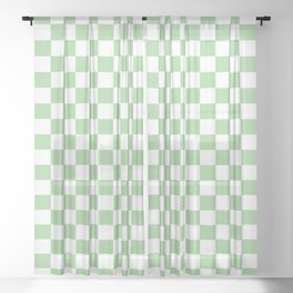 Mint Checkerboard Pattern Sheer Curtain