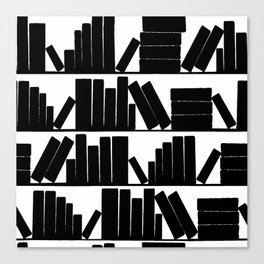 Library Book Shelves, black and white Canvas Print