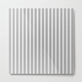 Trendy Large Grey Cinder Pastel Grey French Mattress Ticking Double Stripes Metal Print