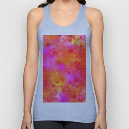 Watercolor Painting Bright Red & Summer Pink Abstract Paint Splashes Unisex Tank Top