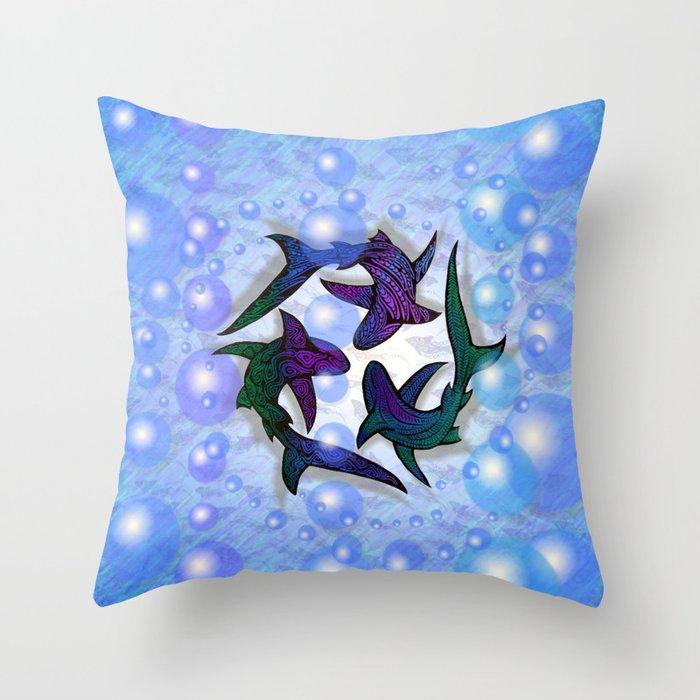 SHARK CIRCLE Throw Pillow