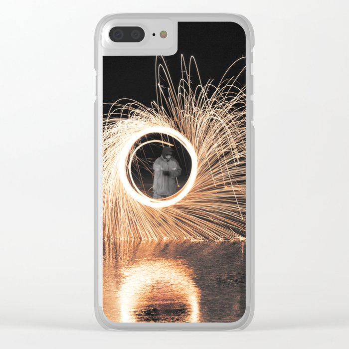 Fire Spinner Clear iPhone Case
