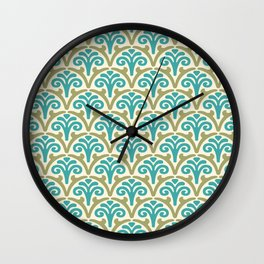 Floral Scallop Pattern Sage and Turquoise Wall Clock